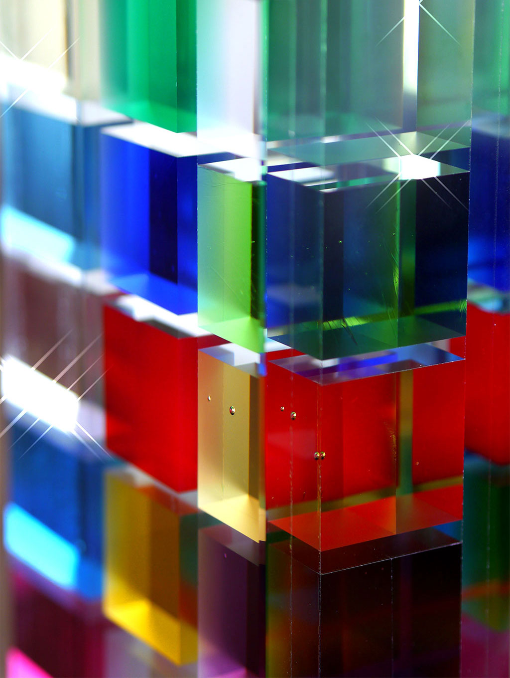 Multicolored Crystal Cube Art Piece