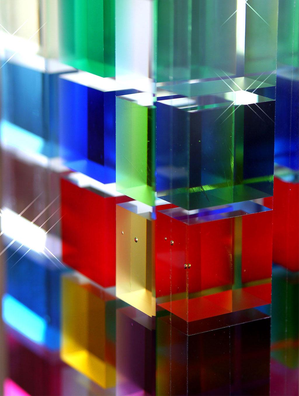Multicolored Crystal Cube Art Piece
